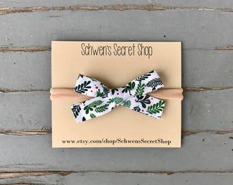 Christmas baby headband, hand tied bow, baby girl bow, baby bow headband, nylon headband, baby hair bow, school girl bow, baby headband
