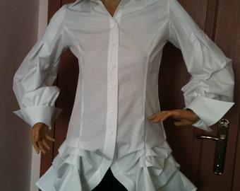 Steampunk Womens slim fit white blouse/Extravagant blouse