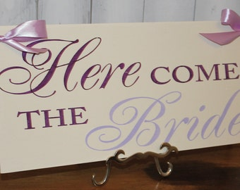 Here Comes the BRIDE Sign/Photo Prop/U Choose Colors/Great Shower Gift/Eggplant/Lavender/Light Weight/Wood Sign/Wedding Sign/Fast Shipping