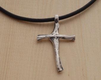 Unique Cross Necklace for Men, Sterling Silver Men's Cross Pendant, Handmade Rustic Cross for him ST695