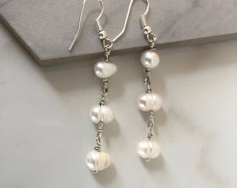 Silver plated and freshwater pearl dangle earrings