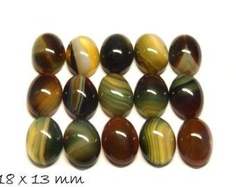 2 PCs gemstone cabochons agate, 18 x 13 mm