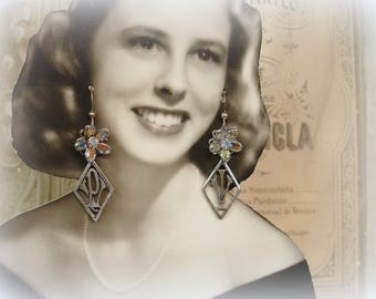 initial reaction one of a kind monogram earrings antique french monograms swarovski crystal ab flowers sterling ear wires