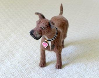Mans Best Friend / Miniature Custom Pet Portrait by Gourmet Felted / Large size