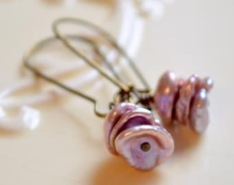 Keishi Pearl Earrings, Lavender Freshwater Stack, Wire Wrapped, Kidney Earwires, Lilac, Antiqued Brass Jewelry