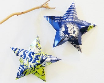 Odyssey Imperial IPA Beer Stars, Christmas Ornaments, Upcycled Aluminum Can, Recycled, Sly Fox Brewing