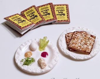 Dollhouse Miniature Food - Miniature Jewish polymer clay full passover set (seder plate, matzah and haggadah)