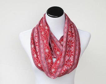 Red fair isle infinity scarf Scandinavian Nordic Christmas scarf jersey knit snood scarf  loop scarf red white scarf gift idea for her