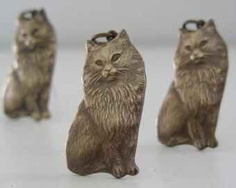 Vintage Charms - Cat Charm - Brass Pendant - Vintage Brass - Vintage Stamping - DIY Earrings - DIY Necklace - 3 pcs.