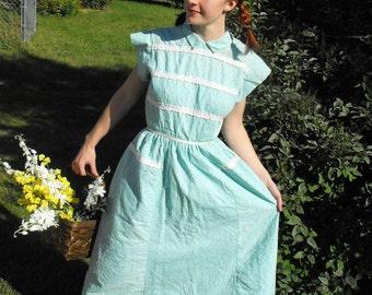 Vintage 50s Dress Button Back Aqua Blue Rockabilly Summer XS