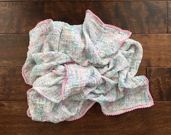Lovey or Mini Gauze Muslin Pom Pom Blanket: Made to Order