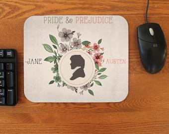 Pride and Prejudice Darcy Silhouette Neoprene Rubber Mouse Pad