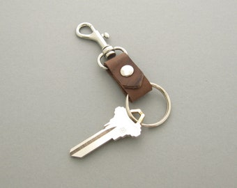 Men's Leather Keychain, Graduation Gift for Him, Brown Leather Key Fob, Men's Leather Gifts, Groomsmen's Gift, Handmade in Texas Gift
