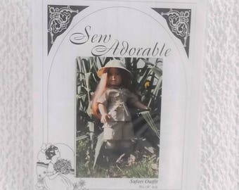 Vintage Doll Clothes Pattern 18 Inch Safari Outfit Sew Adorable 1997 DCC3007