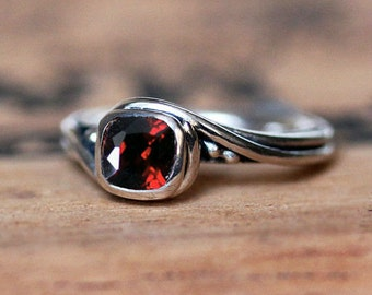 Red garnet ring, silver ring women, January birthstone ring for women, garnet engagement ring swirl ring, garnet jewelry pirouette, custom