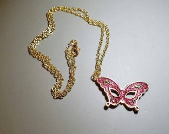 Pink Butterfly Masquerade Mask Pendant Necklace