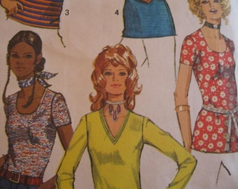 Vintage Early 70's Misses Tops Simplicity 9365 Size 10 Bust 32 1/2