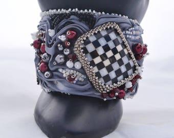 OOAK Queen of Hearts Shibori Ribbon and Beadwoven Bracelet Silver Grey Shibori Ribbon, Checkerboard Swarovski and Pearls Birthday Gift