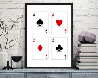 Printable art Digital Prints modern playing cards wall art printable art, printable prints