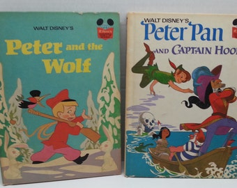 Walt Disney Vintage Book Lot Peter Pan and Captain Hook, Peter and the Wolf