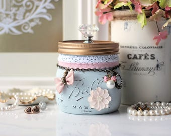 Pale Blue Mason Jar, Shabby Chic Mason Jar, Pastel Trinket Mason Jar, Jewellery Holder, Potpourri Holder, Vanity Organizer, Bridesmaid Gift