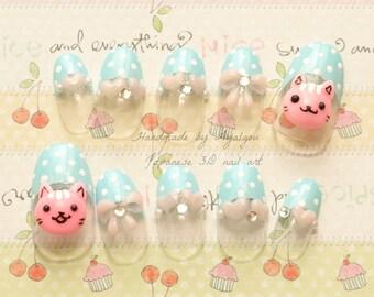 Nails, 3D nails, cat nails, cats, kawaii nails, blue, polka dots, heart, bows, deco nails, decora, Harajuku, pastel fashion, cute nails,