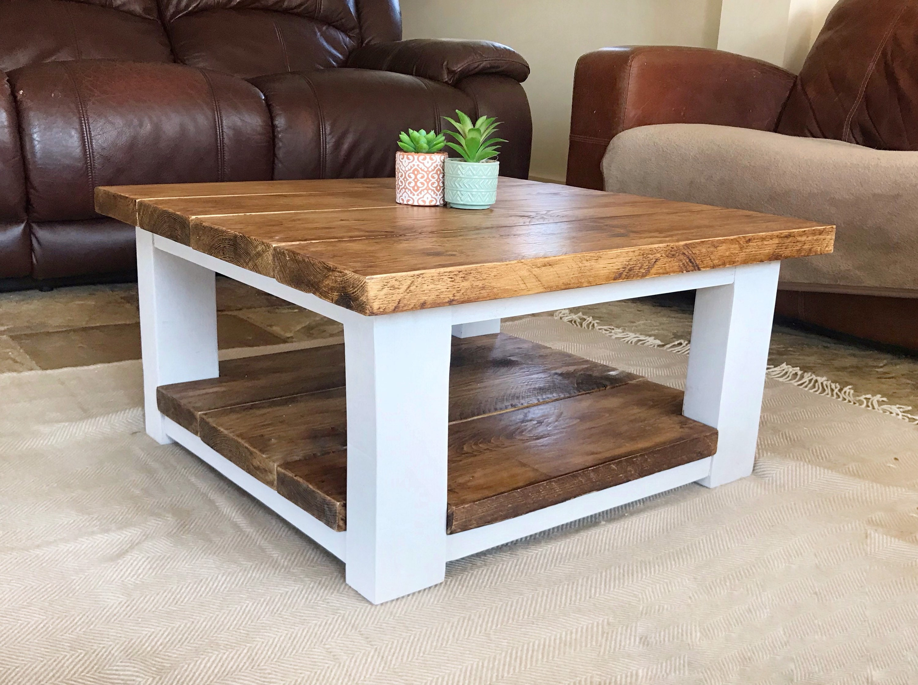 Chunky wooden Coffee Table, square table, reclaimed wooden table with painted grey leg and trims