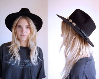 Vintage Hat Black Wide Brim with Conchos