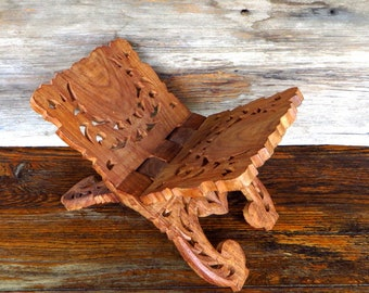 Vintage Hand Carved Book Stand Intricate Carved Wood Bible Stand Boho Home Decor Cookbook Stand 1970's Home Decor