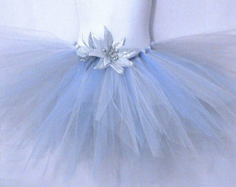 "Snowflakes and Icicles, a frost pixie - 11"" Sewn Pixie Tutu in White Blue and Silver - sizes newborn up to 5T - MADE-TO-Order"
