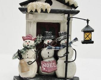 Snowman tree ornament, caroling snowmen ornament, snowman shelf sitter