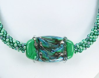 Beaded Kumihimo Necklace with Lampwork Tab Focal Emerald Green