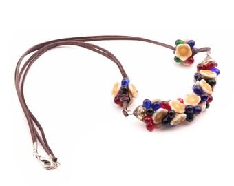 Handcrafted glass bead necklace Czech flower teardrop glass beads leather