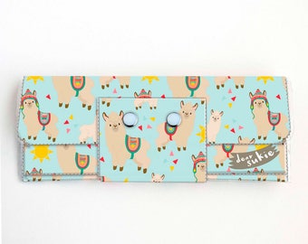 Vinyl Long Wallet - Sunny Alpaca / llama, vegan, pretty, large wallet, clutch, card case, vinyl wallet, big, cute, sun
