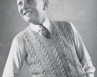 Boys Cable Pullover Vest Knitting Pattern PDF / Size 14 / 1940's Knitted Cable Sleeveless or Sleeved Pullover / Teens vest pattern