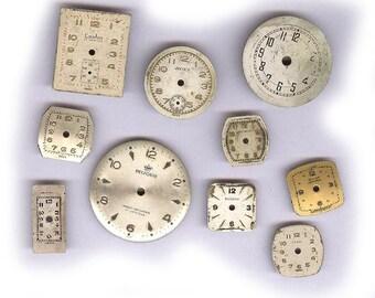 LOT de boîte de montre vintage visages antique assortie de dents en arrière dix montre en métal visages vieux résultats art projets de scrapbooking