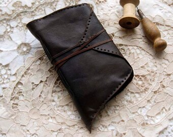 Seed - Unique Leather Journal, Espresso Brown, Tea Stained Pages, Embossed, OOAK
