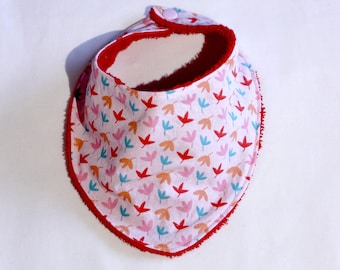 Pink red orange blue leaves with red cotton bib