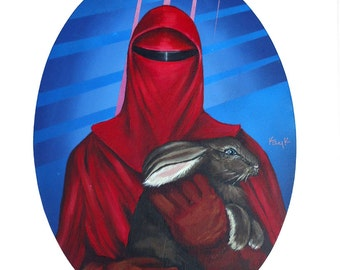 Digital Print of Crimson Guard from Star Wars Return of the Jedi holding Brown Bunny 11x15 made from original Acrylic on canvas painting
