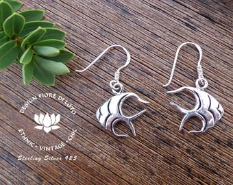 Tropical earrings,Sterling Silver Fish, Sea lovers, Scuba Diving,Tropical gift,Coral reef,Gift for animal Lovers,Gift for Snorkelling Lovers