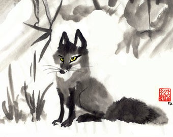 Little Vixen Sharp-Ears Fox Painting Print - Sumi Ink Watercolor totem foxes wall art picture Czech vulpes