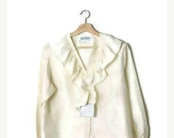 ON SALE Vintage White Pure Silk Long Sleeve frilled Blouse from 1980's/Deadstock*