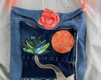 Funky little cross-body purse with original, hand applique design, beach scene, recycled denim, compact yet roomy, lots of pockets