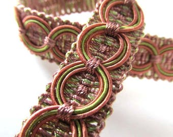 Mauve and Sage Green Circle Patterned 3/4 inch Fancy Braided Decorator Gimp Trim