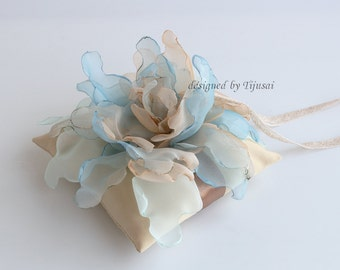 "Wedding ring pillow 5.5""x5.5""  with curly flower mix of blue and beige---wedding rings pillow , wedding pillow, rings cushion"