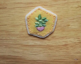 Houseplant Patch: Succulent on Yellow (Patch, Pin, Brooch, or Magnet)
