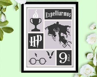 School of Wizardry Cross  Stitch Pattern. Hogwarts modern cross stitch. Potter cross stitch pattern. Magic Modern Cross Stitch Pattern.