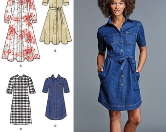 Simplicity Pattern 8014 Misses' / Miss Petite Shirt Dresses with Length Variations
