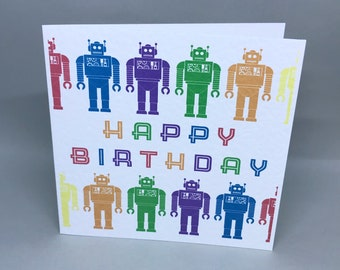 Birthday bots - bright, colourful birthday card with robot design