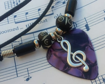 Guitar Pick Necklace - Treble Clef Necklace - Music - Unisex - Purple Pick Necklace  - Guitar Pick Jewelry